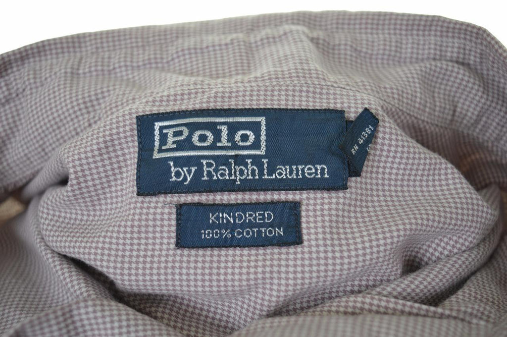 Polo Ralph Lauren Mens Shirt Large Brown Check Cotton Loose Fit - Second Hand & Vintage Designer Clothing - Messina Hembry