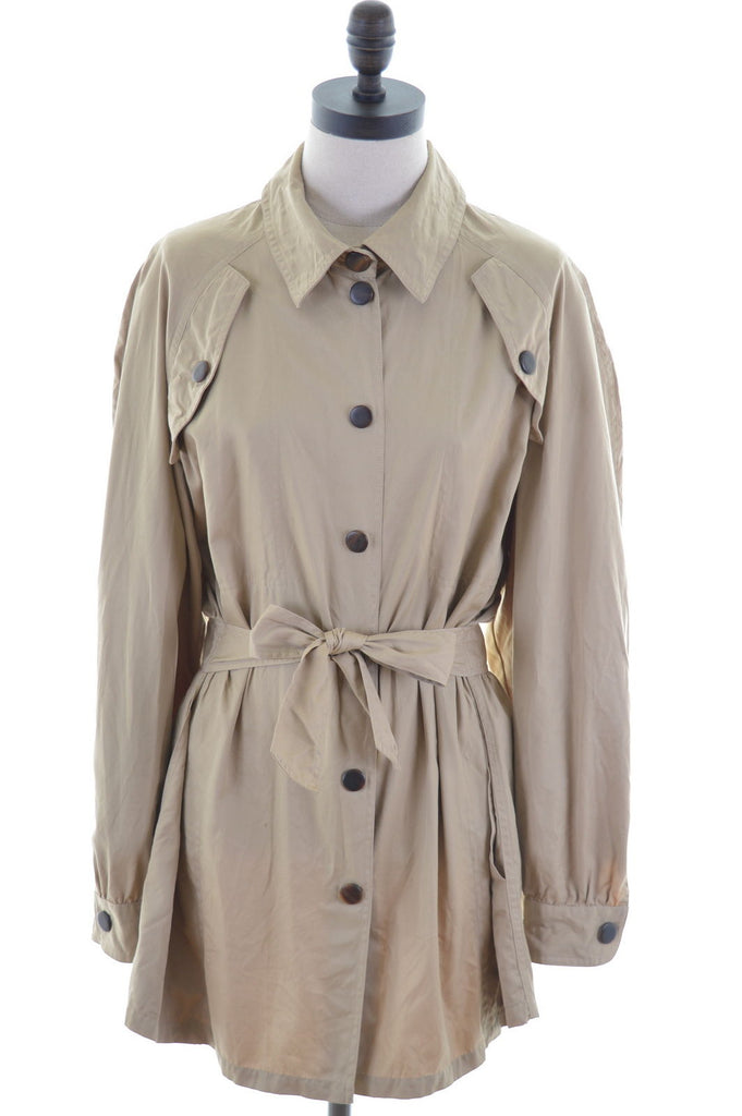 BLUMARINE Womens Trench Coat Size 16 Large Khaki Cotton Military - Second Hand & Vintage Designer Clothing - Messina Hembry
