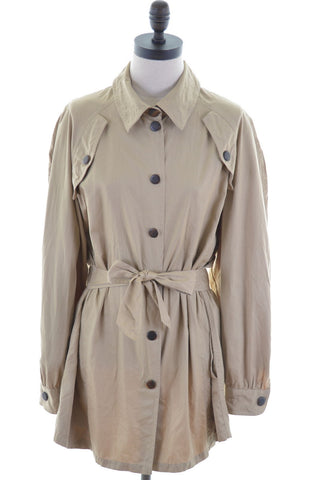 BLUMARINE Womens Trench Coat Size 16 Large Khaki Cotton Military