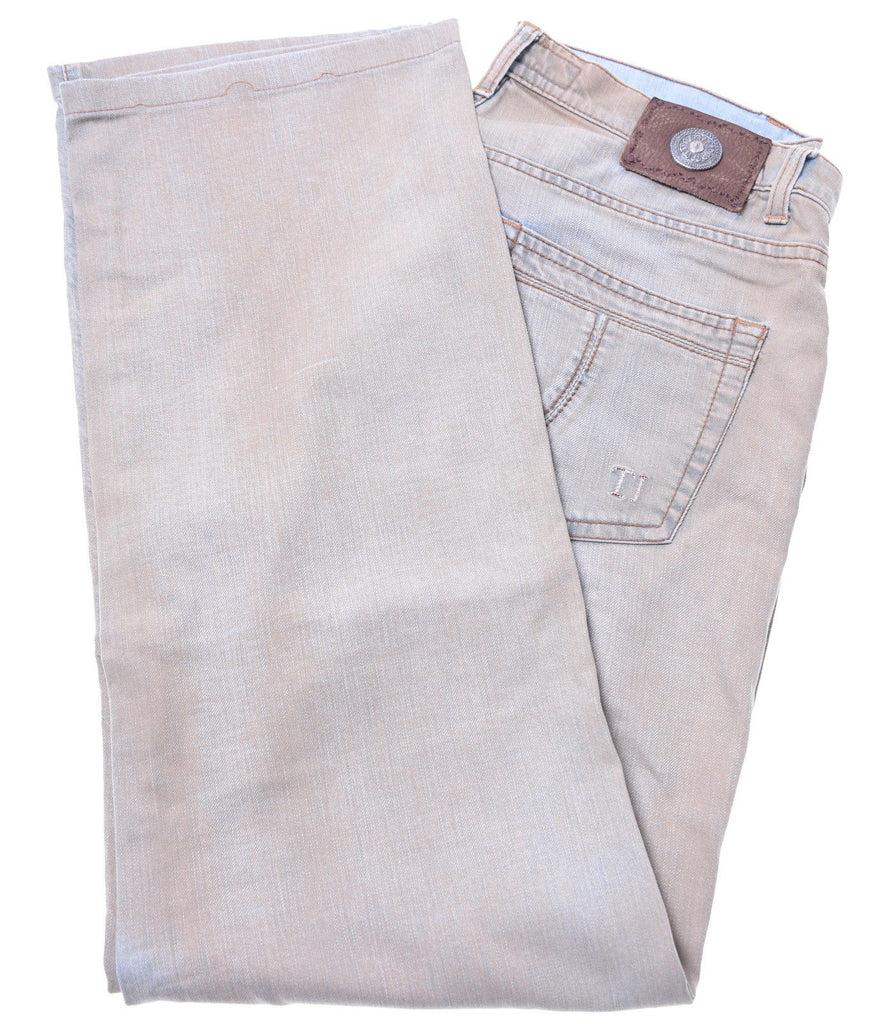 TRUSSARDI Womens Jeans W32 L30 Brown Cotton Straight - Second Hand & Vintage Designer Clothing - Messina Hembry