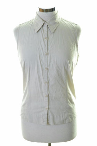 Columbia Womens Shirt Sleeveless Size 10 Small Beige Cotton