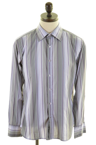TED BAKER Mens Shirt Medium Multi Stripes Cotton