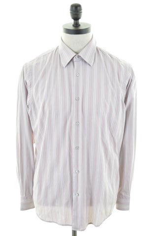HUGO BOSS Mens Shirt Large Multi Stripes Cotton