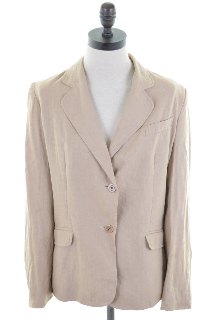 JIGSAW Womens Blazer Jacket Size 12 Medium Brown Linen - Second Hand & Vintage Designer Clothing - Messina Hembry