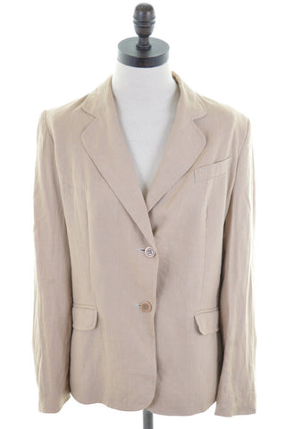 JIGSAW Womens Blazer Jacket Size 12 Medium Brown Linen
