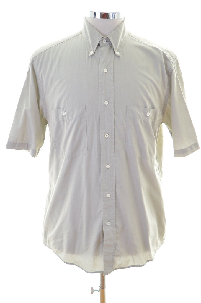 Hugo Boss Mens Shirt Medium Khaki Cotton - Second Hand & Vintage Designer Clothing - Messina Hembry