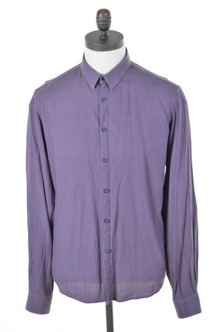 DKNY Mens Shirt Large Purple Cotton