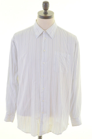 NAUTICA Mens Shirt Size 42 16 1/2 34/35 Large White Stripes Cotton