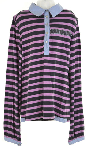 NORTH SAILS Girls Polo Shirt Long Sleeve Size 8 Small Pink Stripes Loose Fit