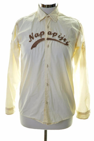 Napapijri Womens Shirt Size 14 Medium Beige Cotton Slim Fit