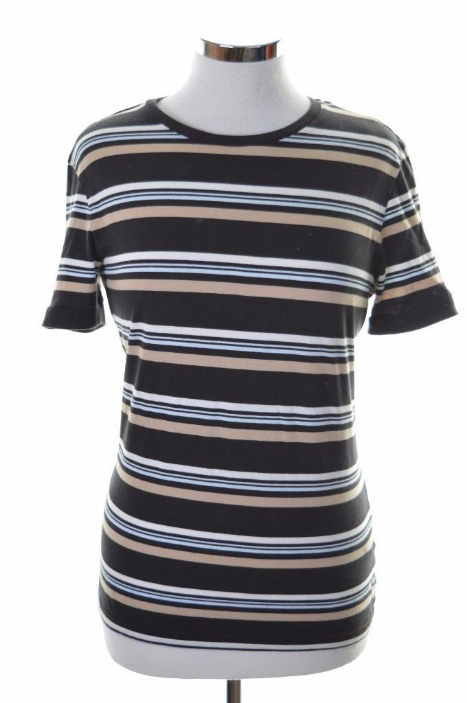 Sergio Tacchini Womens T-Shirt Medium Black Stripe Cotton - Second Hand & Vintage Designer Clothing - Messina Hembry