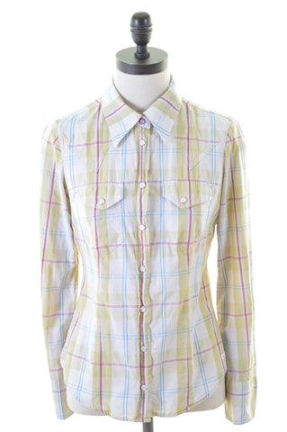 GAS Womens Shirt Size 10 Small Multi Check Cotton