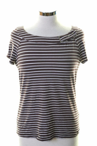 John Richmond Womens T-Shirt Top Size 14 Large Brown Stripes Elastane Polyester