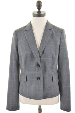 HOBBS Womens Blazer Jacket Size 10 Small Grey Madras Wool