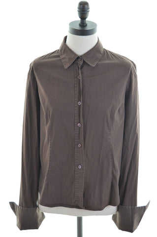 DKNY Womens Shirt Size 8 Small Brown Cotton Loose Fit