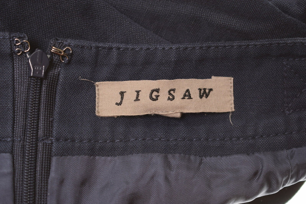JIGSAW Womens A-Line Skirt W32 L21 Navy Blue Cotton - Second Hand & Vintage Designer Clothing - Messina Hembry