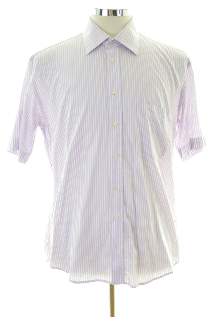 Daniel Hechter Mens Shirt Size 41 Large Purple Stripes Cotton - Second Hand & Vintage Designer Clothing - Messina Hembry