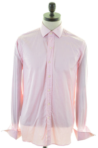 POLO RALPH LAUREN Mens Shirt Size 40-41 16 Large Pink White Stripe Custom Fit