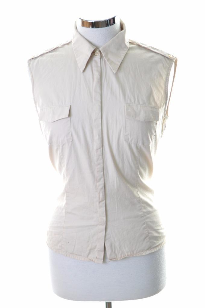 Joop Womens Shirt Blouse Sleeveless Size 38 Small Beige Cotton - Second Hand & Vintage Designer Clothing - Messina Hembry
