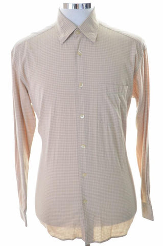 Hugo Boss Mens Shirt Medium Brown Check Cotton Loose Fit