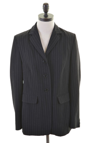 KAREN MILLEN Womens 3 Button Blazer Jacket Size 12 Medium Black Polyester Wool