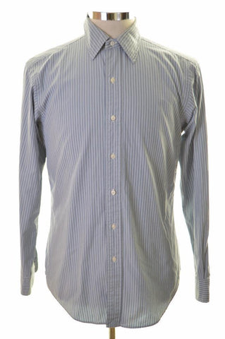 Polo Ralph Lauren Mens Shirt Small Blue Stripes Cotton Loose Fit