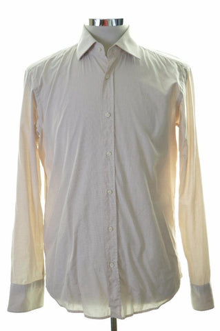 Hugo Boss Mens Shirt Size 39 Medium Beige Check Cotton