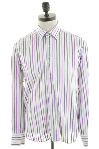 TED BAKER Mens Shirt Medium Multi Awning Stripe Cotton