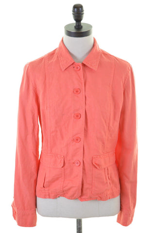 J. CREW Womens Jacket Size 10 Small Orange Linen Cotton