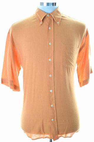 Daniel Hechter Mens Shirt Medium Orange Cotton