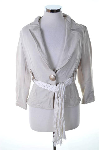 Airfield Womens Blazer Jacket Size 36 Small Beige Cotton Linen