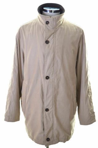 Pierre Cardin Mens Pea Coat Size 40 Large Beige Polyester Viscose
