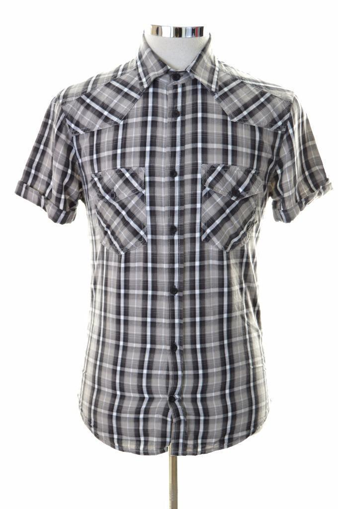 Jack & Jones Mens Shirt Small Grey Check Cotton - Second Hand & Vintage Designer Clothing - Messina Hembry