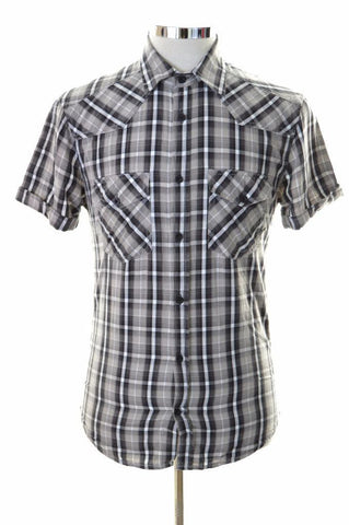 Jack & Jones Mens Shirt Small Grey Check Cotton