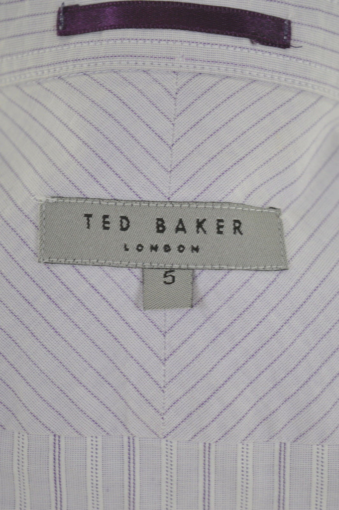 TED BAKER Mens Shirt Medium Purple Stripes - Second Hand & Vintage Designer Clothing - Messina Hembry