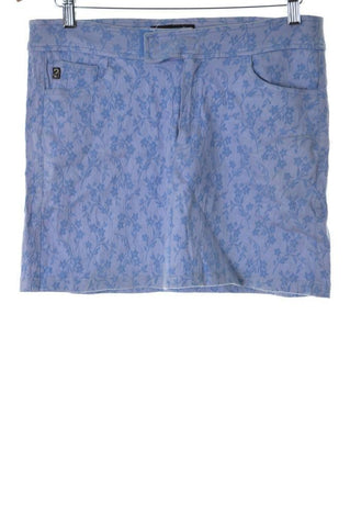 Guess Womens Skirt XL W34 Blue Viscose Cotton