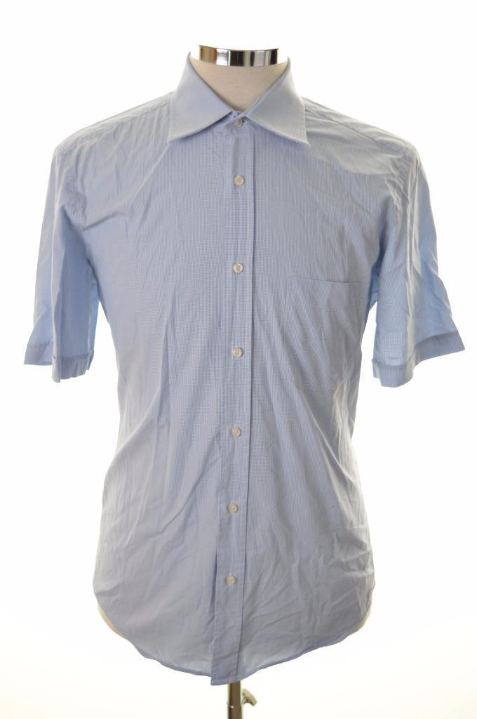 Hugo Boss Mens Shirt size 40 15 3/4 Medium Blue Check Cotton - Second Hand & Vintage Designer Clothing - Messina Hembry
