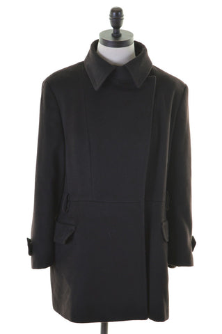 SPORTMAX Womens Double Breasted Coat Size 14 Medium Black Wool