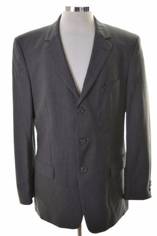 Hugo Boss Mens Blazer Jacket Size 40 Medium Grey Wool Elastane Rayon