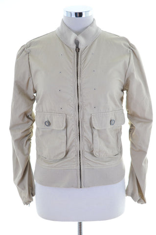 Wrangler Womens Bomber Jacket Large Beige Cotton