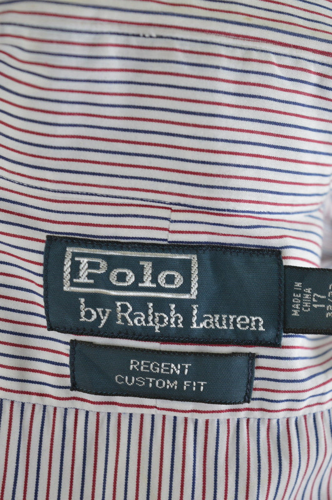 POLO RALPH LAUREN Mens Shirt Large Multi Candy Stripe Cotton Custom Fit - Second Hand & Vintage Designer Clothing - Messina Hembry