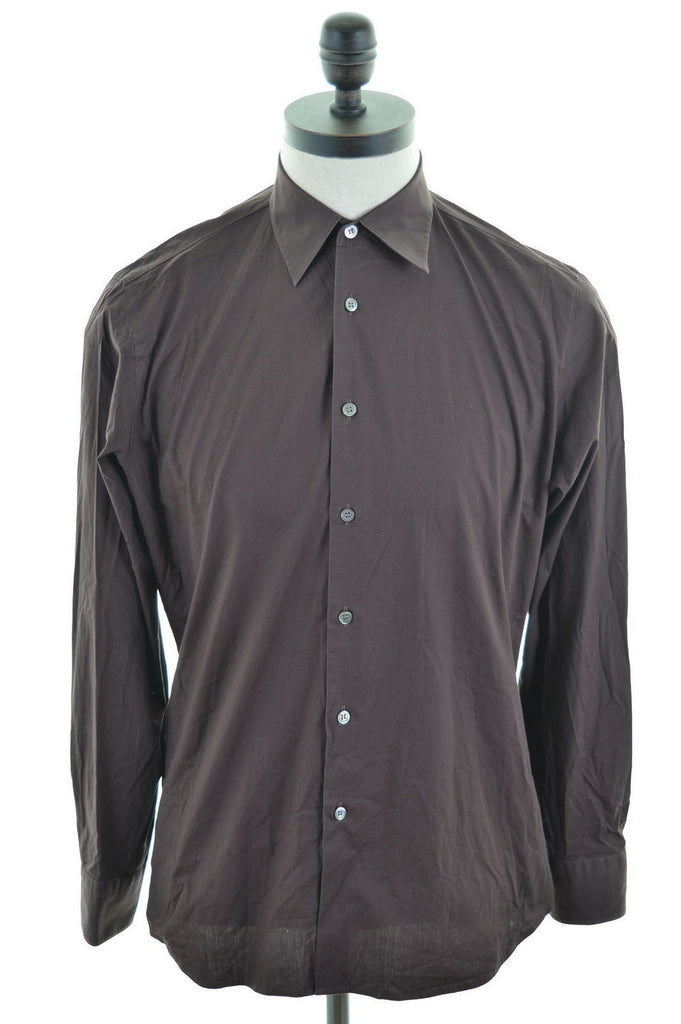 HUGO BOSS Mens Shirt Small Brown Cotton Loose Fit - Second Hand & Vintage Designer Clothing - Messina Hembry