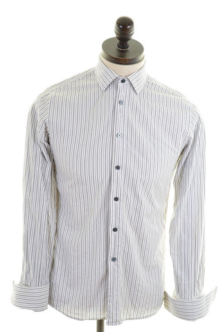 DKNY Mens Shirt Size 17 XL White Candy Stripe Cotton
