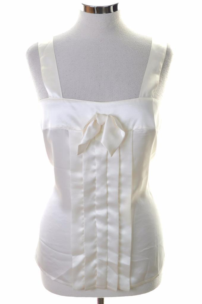 Manshield Womens Vest Top Blouse Medium White Polyester - Second Hand & Vintage Designer Clothing - Messina Hembry