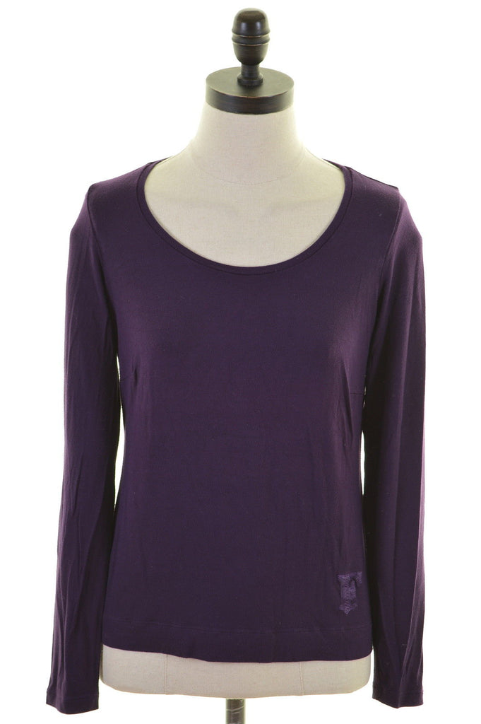 FERRE Womens Top Long Sleeve Size 6 XS Purple Viscose - Second Hand & Vintage Designer Clothing - Messina Hembry