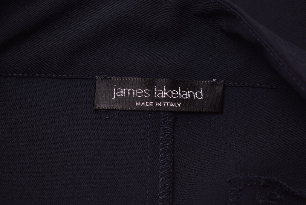 JAMES LAKELAND Womens Trousers W28 L31 Navy Blue Polyester - Second Hand & Vintage Designer Clothing - Messina Hembry