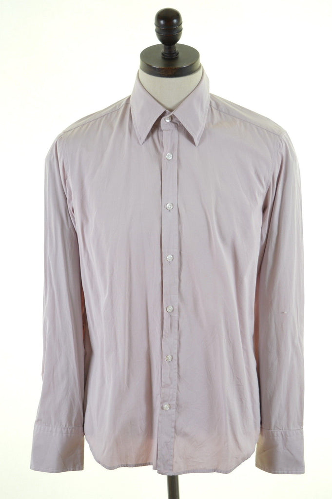 HUGO BOSS Mens Shirt Medium Pink Cotton - Second Hand & Vintage Designer Clothing - Messina Hembry