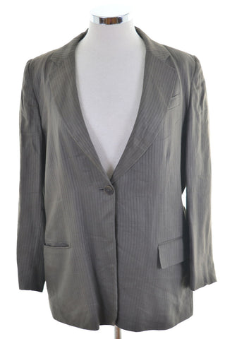 Dkny Womens Blazer Jacket L Brown Purple Stripes Linen