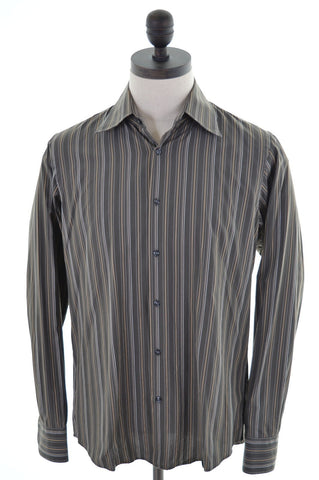 Hugo Boss Mens Shirt Size 40 15 1/2 Medium Brown Stripes Cotton Vintage