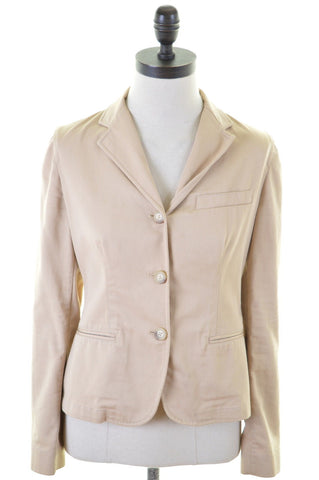 RALPH LAUREN Womens 3 Button Blazer Jacket Size 4 XS Beige Cotton